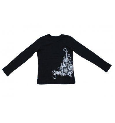 Majica uska crna - Cvjetići