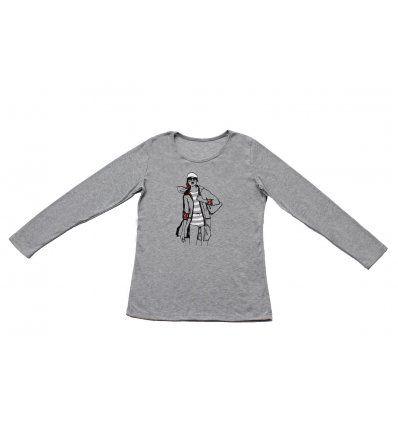 Majica uska svjetlo siva melanž - Cura