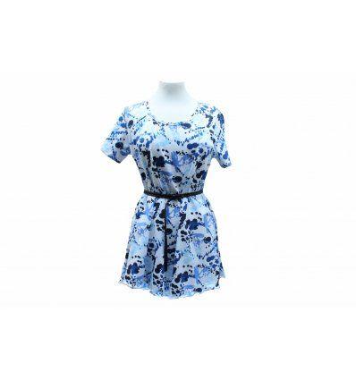 Tunika-haljina Watercolor Blue - kratki rukavi
