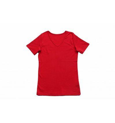 Majica kratkih rukvava crvena - V izrez