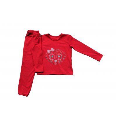 Pidžama crvena - Psić sa naočalama