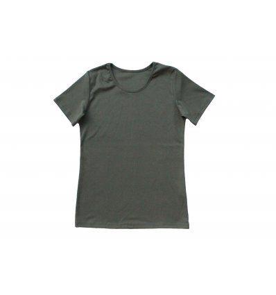 Majica uska kratki rukav maslinasta