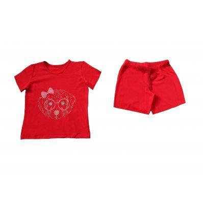 Pidžama crvena kratka - Psić sa...