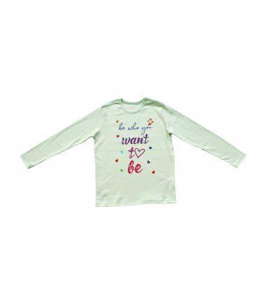 Majica dugih rukava svijetlo kiwi -...