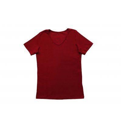 Majica uska kratki rukav bordo - V izrez
