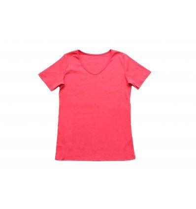 Majica uska kratki rukav koraljne...
