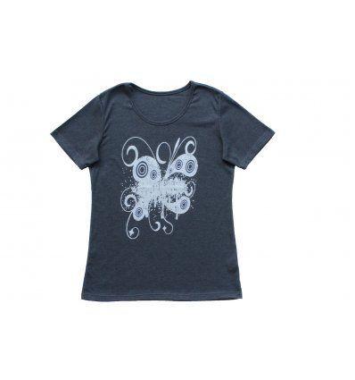 Majica kratki rukav melanž tamno siva print