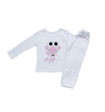 Pidžama bijela sova roza