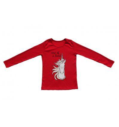 Žene - Majice dugi rukav - Majica uska crvena - Jednorog
