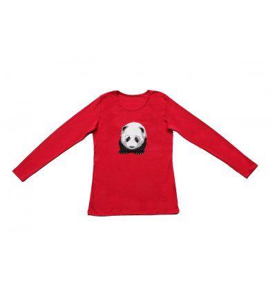 Žene - Majice dugih rukava - Majica uska crvena - Panda