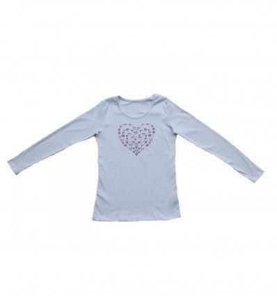 Djevojčice - Majice dugih rukava - Majica uska bijela - Srce
