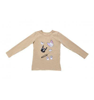 Djevojčice - Majice dugi rukav - Majica uska boje šampanjca - Meow