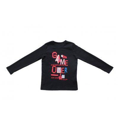 Dječaci - Majice dugih rukava - Majica tamno plava - Game over (crveno)