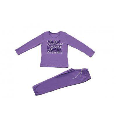 Djevojčice - Pidžame i spavaćice - Pidžama pastelno ljubičasta - Follow your dreams
