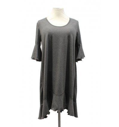 Žene - Tunike i haljine - Haljina sa volanima siva melanž