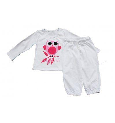 Djevojčice - Pidžame i spavaćice - Pidžama bijela - pinky sova