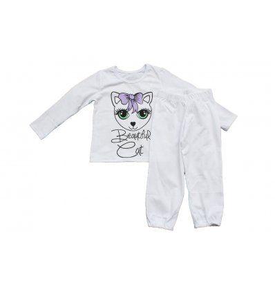 Djevojčice - Pidžame i spavaćice - Pidžama bijela - maca