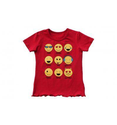 Djevojčice - Majice kratkih rukava - Majica crvena - Smajlići