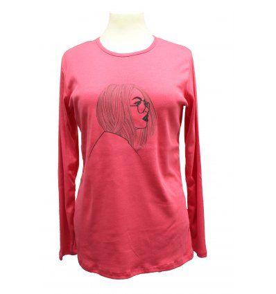 Žene - Majice dugih rukava - Majica boje breskve - Cura s naočalama