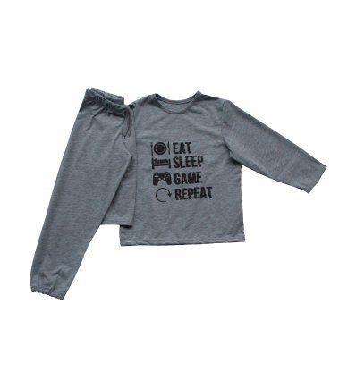 Dječaci - Pidžame - Pidžama svjetlo siva - Eat Sleep Game Repeat