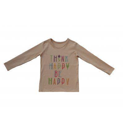 Djevojčice - Majice dugih rukava - Majica dugih rukava boje šampanjca - Think happy be happy
