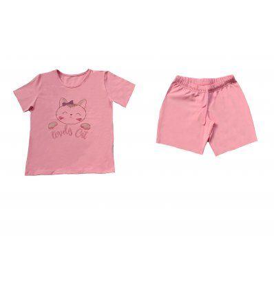 Žene - Pidžame i spavaćice - Pidžama roza kratka - Lovely cat