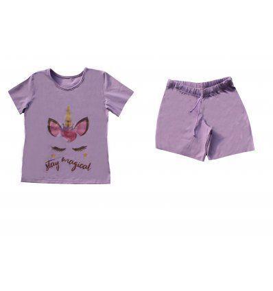 Žene - Pidžame i spavaćice - Pidžama ljubičasta kratka - Stay magical