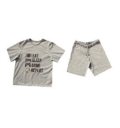 Dječaci - Pidžame - Pidžama svijetlo siva kratka - Eat Sleep Game Repeat