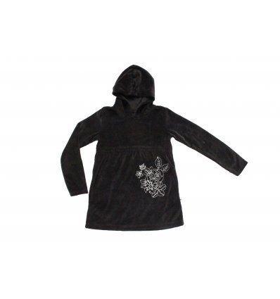 Djevojčice - Tunike - Plišana crna tunika sa kapuljačom