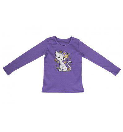 Djevojčice - Majice dugi rukav - Majica uska lila - mica maca