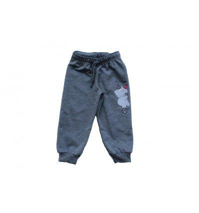 Bebe - Hlače i tajice - Baby hlače melanž tamno sive Slonić