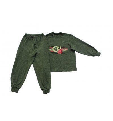 Dječaci - Pidžame - Pidžama melanž tamno zelena