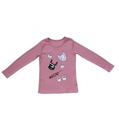 Djevojčice - Majice dugih rukava - Majica uska prljavo roza Meow