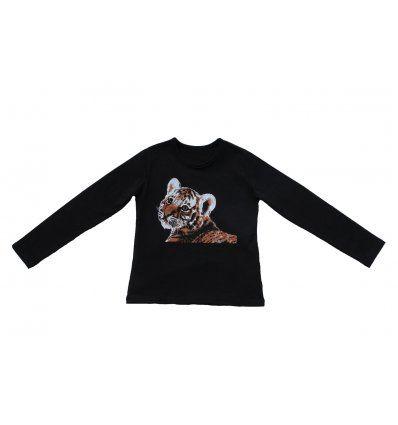 Djevojčice - Majice dugih rukava - Majica uska crna Tigrić