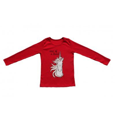 Djevojčice - Majice dugih rukava - Majica uska crvena - Jednorog