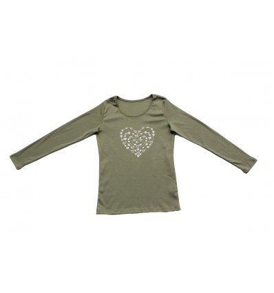 Žene - Majice dugih rukava - Majica uska maslinasta - Srce