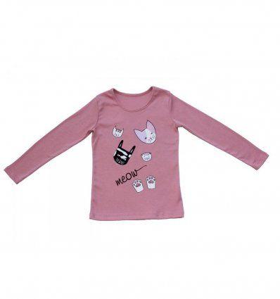 Žene - Majice dugi rukav - Majica uska prljavo roza - Meow