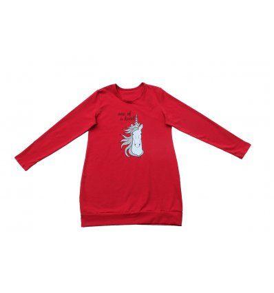 Djevojčice - Tunike - Tunika sa pasicom crvena - Jednorog